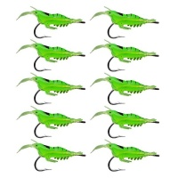 10 Piece Shrimp Lures with Hook Green - 4cm Photo