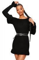 I Saw it First - Ladies Black Frill Hem Knitted Jumper Photo
