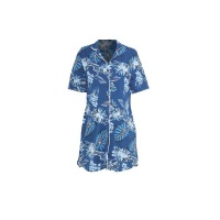 Hannah Grace Maternity Blue & White Floral Button Down Sleepshirt Photo