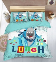 Linen Boutique - Custom Printed Duvet Cover Set - Hungry Shark Photo