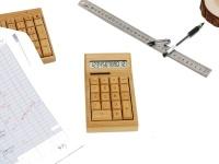 College Originals Deco Old School Vintage Bamboo Solar Calculator Small Photo