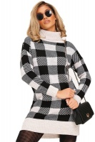 I Saw it First - Ladies Black Check Knitted Jumper Dress Photo