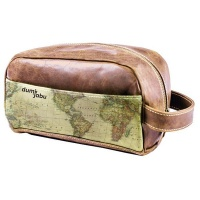 Dumi Jabu Genuine Leather Toiletry or Cosmetic bag | Africa Map Travel Photo