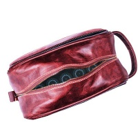 DoringBoom Genuine Leather Toiletry or Cosmetic Bag - Cherry Red Photo