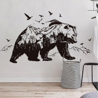 AOOYOU Creative Black Forest Bear Vinyl Art Sticker for Wall Decoration Photo