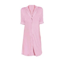 Hannah Grace Pink Short Sleeve Button-Down Sleepshirt Photo
