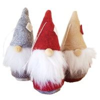 The Nordic Collection Nordic Tomte Felt Gnome Santa Xmas Christmas Tree Hanging Decor 3 Pack Photo