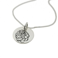 Carnation of January Birth Flower Sterling Silver Necklace Photo