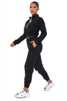 I Saw it First - Ladies Black Half Zip Jumper And Joggers Set Photo