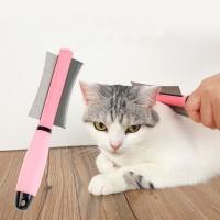 Cat & Dog Double Sided Pet Brush - Pink Photo