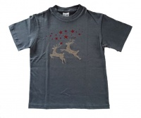 Christmas T Shirt Grey Rain deer silver glitter Photo