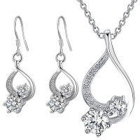 Silver Designer Double Crystal Set with Earrings and Necklace Photo
