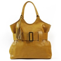 Nuvo - Genuine Leather Belted Handbag in Yellow Photo