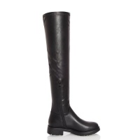 Quiz Ladies Black Faux Leather Over The Knee Boots - Black Photo