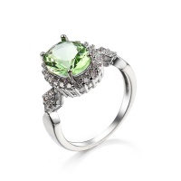 DHAO-Women's Princess Round Cubic Pleated Wedding Ring Jewelry Gift Photo
