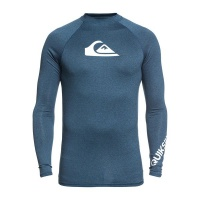 Quiksilver All Time LS Men's Long Sleeve Surf Shirt - Majolica Blue Heather Photo