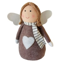 The Nordic Collection Nordic Large Brown Angel Xmas Christmas Décor Ornament or Door Stopper 30cm Photo
