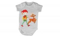 Christmas Elf and Reindeer - Train - SS - Baby Grow Photo
