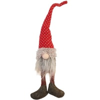 The Nordic Collection Nordic Red & White Spotted Sitting Christmas Gnome Dangly Legs 40CM Photo