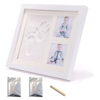 AfriWow DIY Baby Handprint & Footprint with Wooden Photo Frame Casting Mould Kit Photo