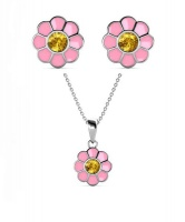 Destiny 925 Sterling Silver Kid's Flower Set with Swarovski Crystals Photo