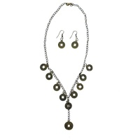 Necklace & Earrings Costume Jewellery Set - Lucky Chinese Coin Design Photo