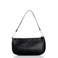 Quiz Ladies Black Faux Leather Woven Shoulder Bag - Black Photo