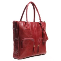 "Bag Addict NUVO Aura Genuine Leather 15"" Laptop Handbag Red Photo"