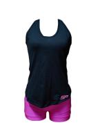 SP - 2 Piece Set Women's Vest Racer Back Top & Shiny Bright Pink Shorts Photo