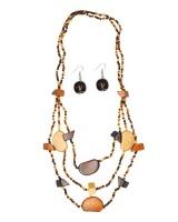 Sista Long Multicoloured Wood Necklace & Earring Set Photo