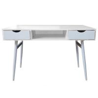 Modern Two Drawer White Scandinavian-Style Home Office Desk Computer Desk Photo