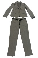 UB Creative Small Check Stretch Pants Suit Grey Photo