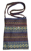 Funky Bohemian Style Colourful Material Hand Bag. Diamond patterns. Photo