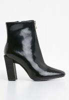 Women's Missguided Feature Heel Front Zip Ankle Boot - Black Photo