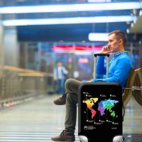 Iconix Printed Luggage Protector | World Wide Map Photo