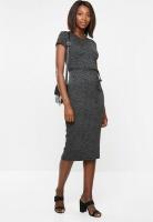 Women's Edit Midi Bodycon - Black & Grey Photo