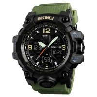 Mens Military Waterproof Dual Time Watch Alarm Stopwatch Army Green Photo