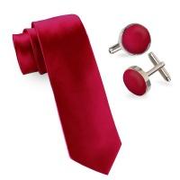 Silk Red 4 Piece Tie & Cufflink Set Photo