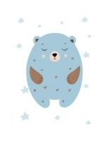 Wall Décor Canvas Art Prints for Baby Nursery: Blue Bear Set Photo