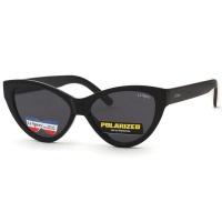 Lespecs Cat-Eye Ladies Polarized Sunglasses - Shiny Black Photo