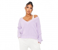 I Saw it First - Ladies Lilac V Neck Ribbed Long Sleeve Jumper Photo