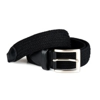 UAC Woven Style Elastic and Leather Mens Belt - Black Photo