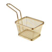 Deep Fryer Wire Mesh Fry Basket Square - Gold Photo