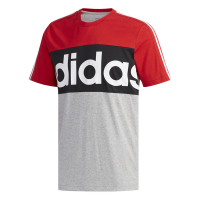 adidas - Men's Essential Colour-Block Tee - Red/Grey/Navy Photo