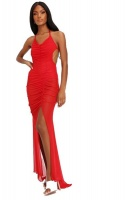 I Saw it First - Ladies Red Mesh Ruched Front Backless Maxi Photo