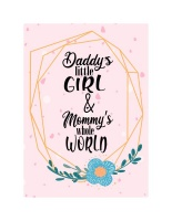 Wall Décor Canvas Prints for Baby Nursery: Daddy's Little Girl and Mom's World Photo