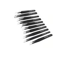 10 Pieces Anti-static ESD Tweezers Set Traight Nipper Curved Straight Tweezers Photo