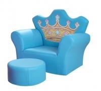 LASA Kids Children Sofa With Footstool PU Leather - Blue Photo