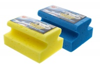 Car Wash Sponge Grooved Blue and Yellow 2 Pack Photo