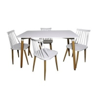 Click Furniture Kelso 5 Piece White Dinning Set Photo